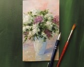 Hand-painted greeting card Birthday card Lilac flower art Birthday card for her Art cards Spring card Handmade greeting card Oil on paper