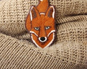 Brooch handmade Beaded Beadwork Embroidered brooch Red white fox foxy Brooch with embroidery Brooch with animals Beaded pin Jewelry with fox