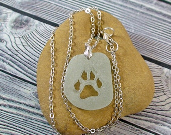 Dog Paws Necklace Sea Glass Necklace Pet Lovers Gift Dog Paw Jewelry Dog Jewelry Beach Lovers Gift