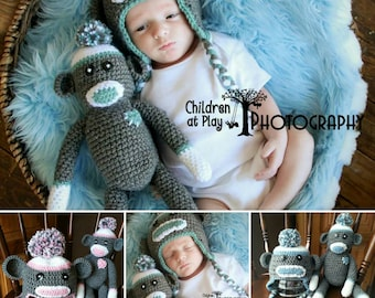 Sock Monkey Hat and Doll Set, Made-to-Order Crochet