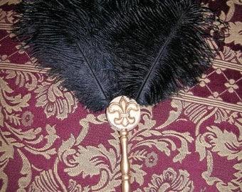 Black Renaissance Ostrich Feather Fan with Fleur de Lis Handle