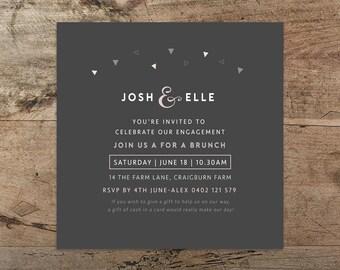 Engagement party invitation, Printable 'Geo Confetti' invitation, funky, quirky, contemporary, engagement, DIY, wedding invitation, confetti