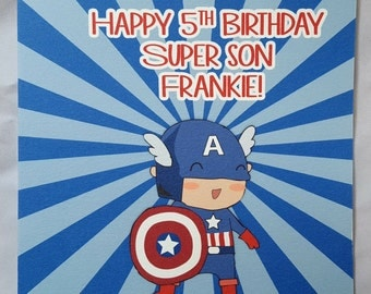 Personalised Superhero Childrens Birthday Card-Captain America
