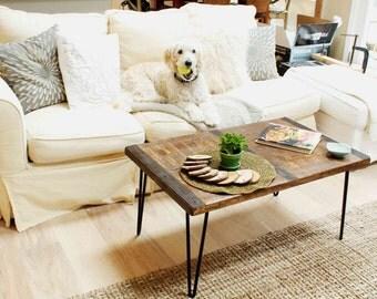 Reclaimed wood coffee table with inlaid metal strips, Industrial coffee table, urban coffee table, reclaimed wood table, vintage look