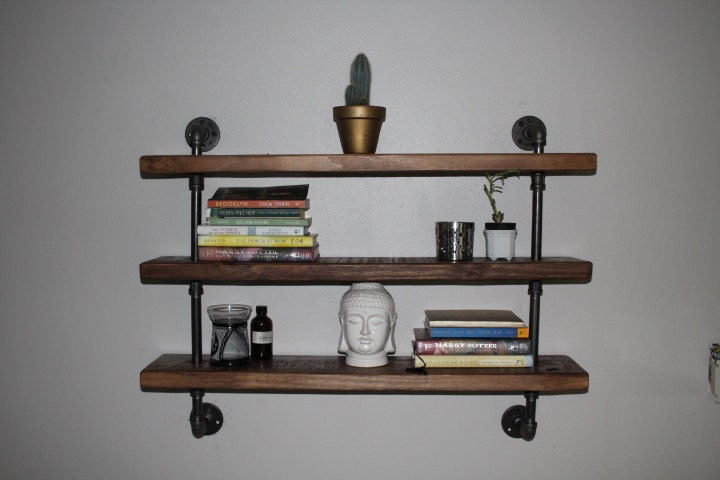 industrial pipe shelf pipe shelving wood and pipe shelf. Black Bedroom Furniture Sets. Home Design Ideas