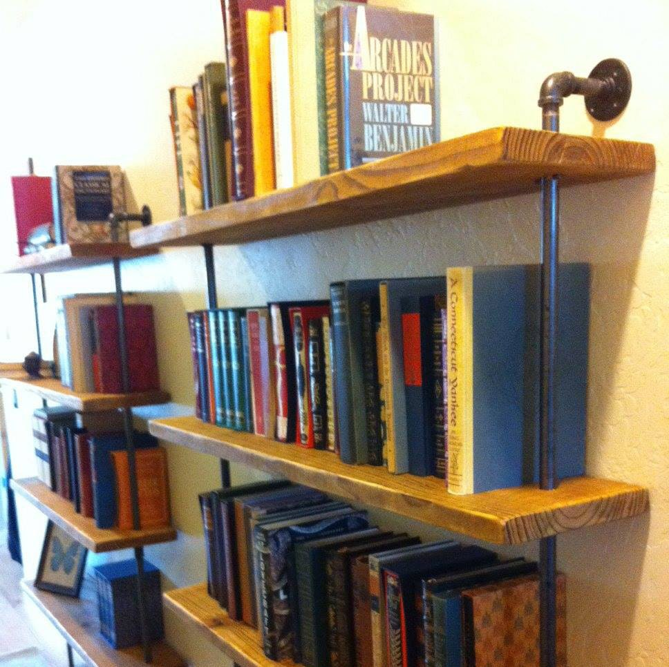 Industrial wall unit Pipe shelving unit Reclaimed barn wood