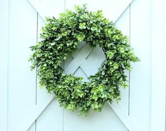 Boxwood Wreath ~ Faux Boxwood Wreath ~ Fixer Upper Decor ~ Year Round Wreath ~ Housewarming Gift ~ Boxwood Decor ~ Front Door Wreath
