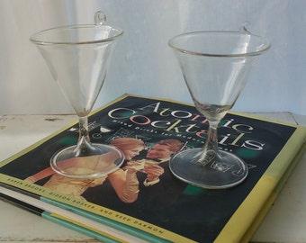 Unique Delicate Handblown Cordial Glasses, Set of Two