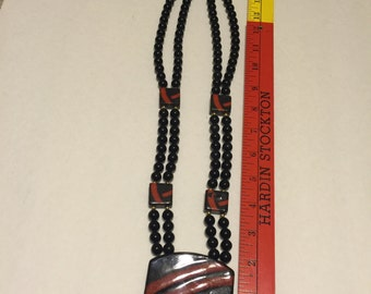 80s Vintage Red and Black Bold Beaded Necklace