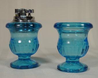 Azure Blue Glass Lighter set; 1960's or 70's