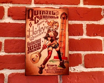DC Bombshells Harley Quinn Quinzel Carnivals Distressed Wooden Plaque Sign - 3 sizes