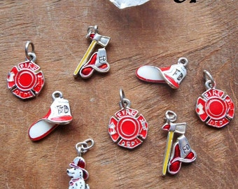 Set of 8 Firefighter Enamel Charms