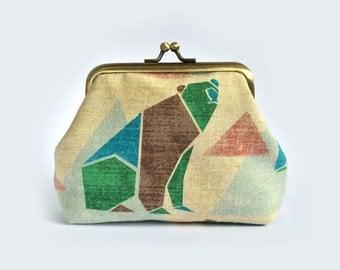 Kisslock Purse Bear Origami - Metal Frame Purse, Wallet, Gamaguchi, Triangle