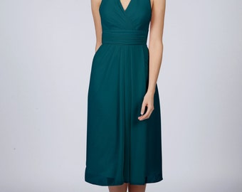 Teal Halterneck Short Bridesmaid Dress by Matchimony