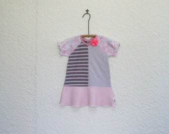 Upcycled TShirt Dress Size 2, Recycled T Shirt Dress, Little Girl's Dress, Repurposed Tshirt Dress, Toddler Dress, Handmade T Shirt Dress