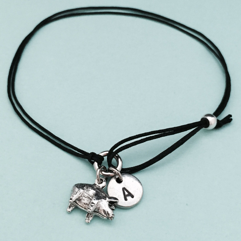small pig cord bracelet small pig charm bracelet
