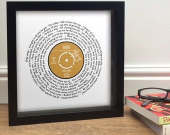 Anniversary Gift for him - Vinyl Record Personalised 23 x 23cm Print - Any Song Words Lyrics - Great Hipster Retro Vintage Present