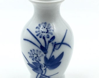 Small Vintage Hand Painted Vase, Japanese Oriental, Blue and White, Floral Pattern, Collectible Bud Vase