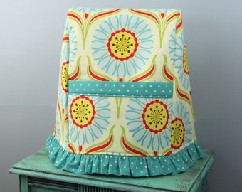 Stand Mixer Cover- Pop Daisy Red- Available in Two Sizes. Choice of Ruffled or Tailored Skirt.