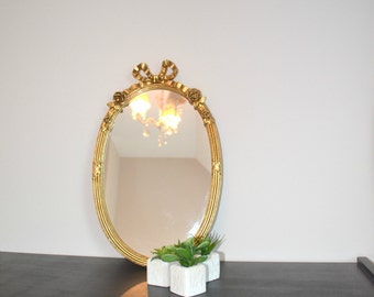 MIRROR Golden oval, 45 cm, motif Ribbon and roses, miror,.