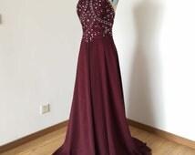 Backless Spaghetti Straps Burgundy Chiffon Long Prom Dress