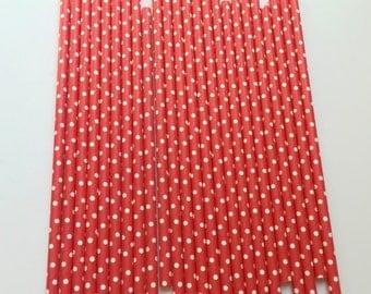 RED & WHITE POLKA Dot Straws / Red Straws / Party Straws / Paper Straws / Valentine's Day Straws / Party Supplies / Polka Dot Paper Straws