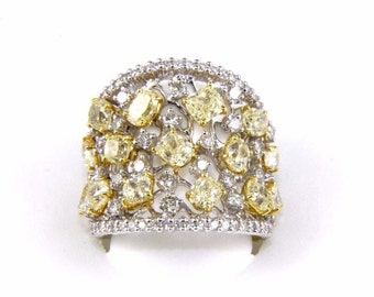 Wide Fancy Yellow & White Cluster Diamond Fashion Ring 14k White Gold 5.83Ct