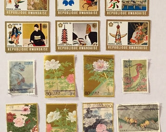 14 Images Old Japan Postage Stamps Used