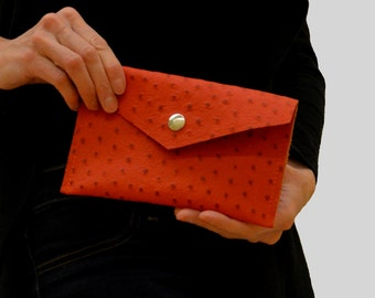 orange leather wallet, orange wallet, cell phone wallet, Iphone wallet, small orange wallet, leather wallet, ostrich wallet, Toronto Ontario