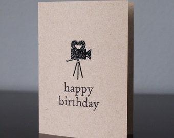 Handmade Vintage Movie Camera Birthday Card
