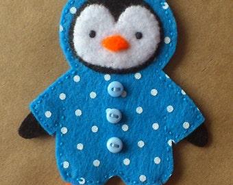 Blue polka dot penguin