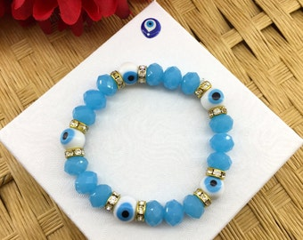 Evil Eye Bracelet - High Quality Glass Beads - Turkish Evil Eye Bracelet - Evil Eye Protection - Perfect Gift - Hamsa - Meditation Bracelet