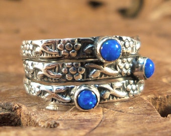 Stack Fusion Ring  Unique Fused Ring! Fire Opal & Textured Sterling Silver Women's Ring