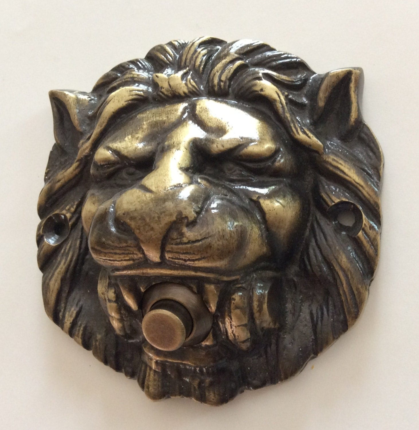 Large Solid Brass Lion Head Push Button Door Bell Lot Finishes