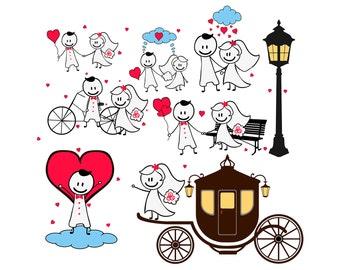 Bride Groom Clipart. Digital Clipart Wedding Clip Art png Images. Scrapbooking Invitations Printable Graphic INSTANT DOWNLOAD 300 dpi