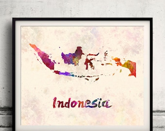 Indonesia - Map in watercolor - Fine Art Print Glicee Poster Decor Home Gift Illustration Wall Art Countries Colorful - SKU 1817