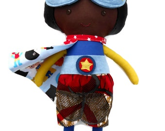 African american superhero, boydoll with superhero mask and cape, black doll toy for kids boys toddlers, afro doll with natural hair
