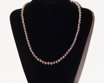 """Vintage 925 Sterling Silver Italy Made 5mm Bead 16"""" Long Necklace."""