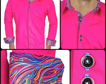 Bright Pink with Multi-Colored Swirls Men's Designer Dress Shirt - Made To Order in USA
