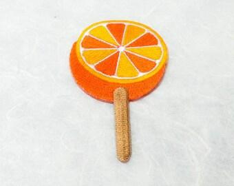 Lollipop Candy, Orange Ice Pop Iron on Patch (L1) - Orange Ice Cream Applique Embroidered Iron on Patch-Size 4.9x7.6cm