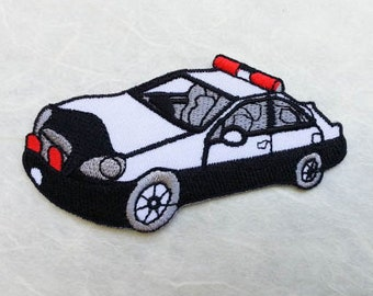 Police Car Iron on Patch (L) 9.8 x 5.0 cm - Police Car Applique Embroidered Iron on Patch