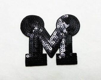M Sequin Iron on Patch (M) - Sequin M Letter  Minne Mouse (Black) ,Glitter Applique Iron on Patch - Size 7.0x6.0 cm