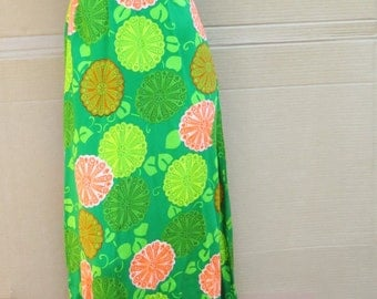 1960s orange lime-burst Halter dress Size 8