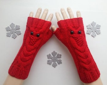 EXPRESS SHİPPİNG!Red Owl Hand-Knitted Fingerless Gloves/Winter Accessories/ReyyanCrochet