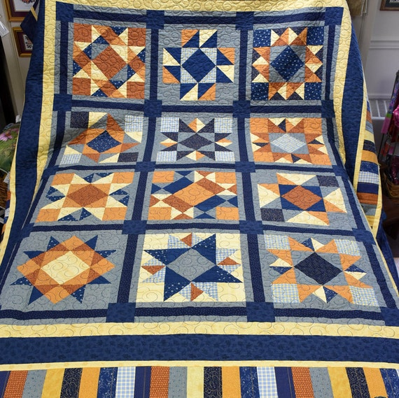 Blue and Gold Quilt in Jonathan's Choice Pattern