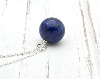 Silver Lapis Lazuli Necklace Blue Lapis Gemstone Ball Long Chain Necklace Dainty Boho Layering Necklace Lapis Minimalist Bohemian Jewelry