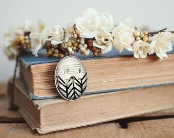 Oval Chevron Sheet Music Necklace ⇻ Glass Dome Necklace ⇻ Boho Necklace