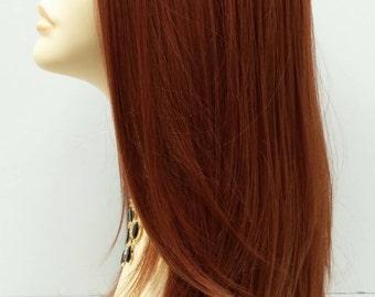 Long 24 inch Straight Bright Auburn Lace Front Wig with Premium Heat Resistant Fiber. [47-256-Dana-130]