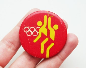 vintage Soviet era tin pins pinback buttons basketball hoops brooch cordon medallion token badge
