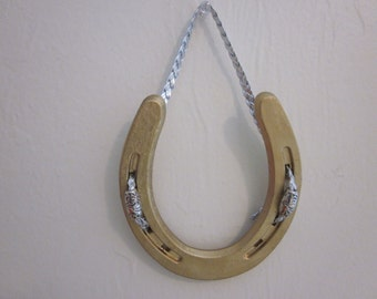 Gold Good Luck Horse Shoe with Silver Trim - Small Horse Shoe with Silver Braided Cord - Decorative Horse Shoe